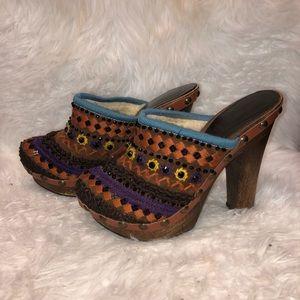 Miu Miu Prada Embroidered Wooden Clog/Mule Heels